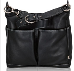 OiOi Black Leather Hobo Changing Bag